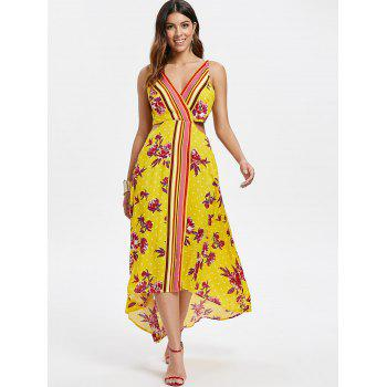 Cut Out Floral Print Dress - BRIGHT YELLOW M