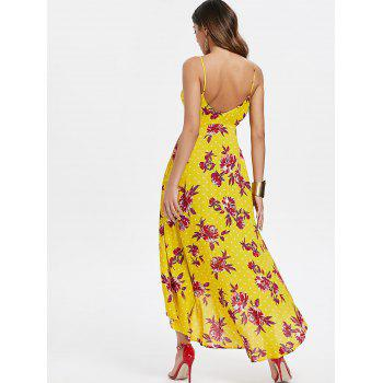 Cut Out Floral Print Dress - BRIGHT YELLOW L
