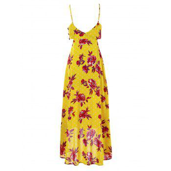 Cut Out Floral Print Dress - BRIGHT YELLOW XL