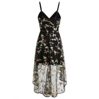 Sleeveless Embroidered Midi Dress - BLACK XL