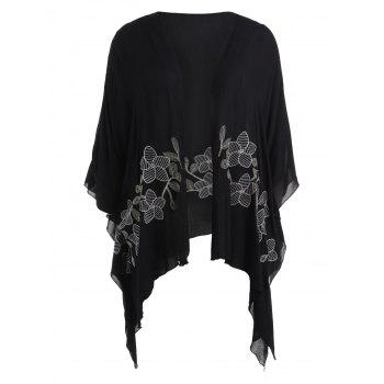Plus Size Open Front Cardigan Coat - BLACK 1X