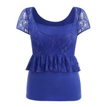 Plus Size Cap Sleeve Lace Trim T-shirt - BLUE 2X