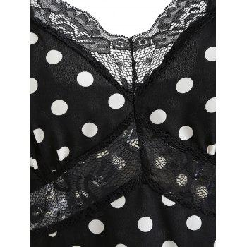 Polka Dot Lace Insert Mini Dress - BLACK S