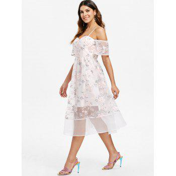Embroidery Mesh Open Shoulder Dress - SAKURA PINK XL