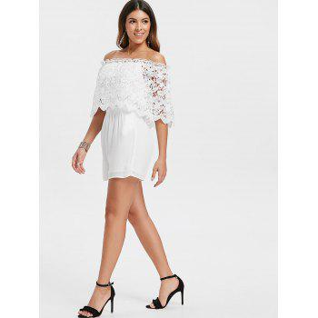 Off The Shoulder Lace Overlay Romper - WHITE 2XL