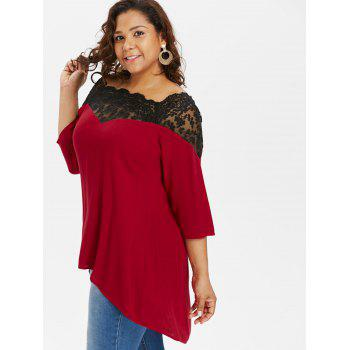 Plus Size Two Tone Lace Yoke Blouse - RED L