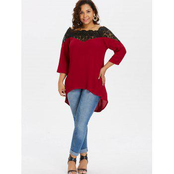 Plus Size Two Tone Lace Yoke Blouse - RED 1X
