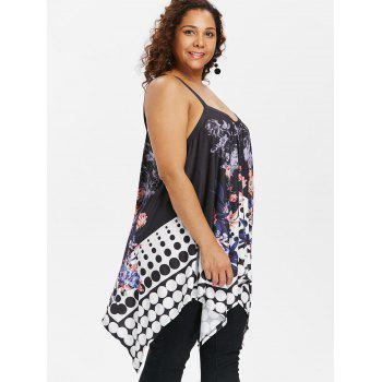 Dotted Plus Size Floral Print Cami Top - BLACK 2X