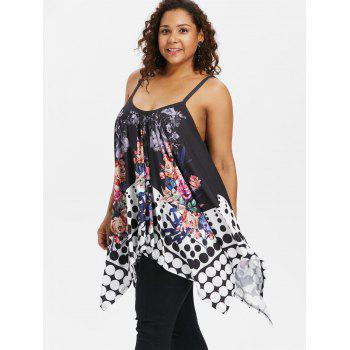 Dotted Plus Size Floral Print Cami Top - BLACK 3X