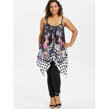 Dotted Plus Size Floral Print Cami Top - BLACK 5X