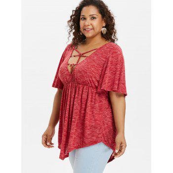 Plus Size Bell Sleeve Strappy T-shirt - RED 3X