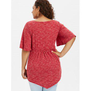 Plus Size Bell Sleeve Strappy T-shirt - RED 4X