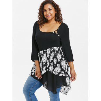 Plus Size Scoop Neck Floral Asymmetric T-shirt - BLACK 1X