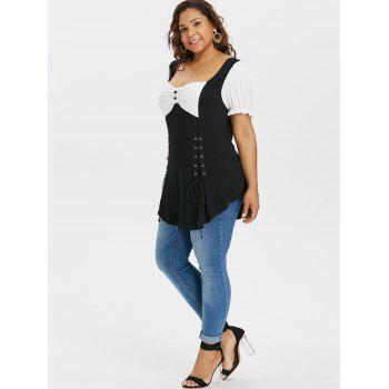 Plus Size Bow Bust Sweetheart Neck T-shirt - BLACK 2X
