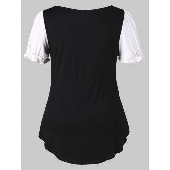 Plus Size Bow Bust Sweetheart Neck T-shirt - BLACK 3X
