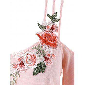 Plus Size Embroidery Bell Sleeve Ruffle T-shirt - LIGHT PINK L