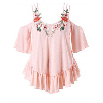 Plus Size Embroidery Bell Sleeve Ruffle T-shirt - LIGHT PINK 2X