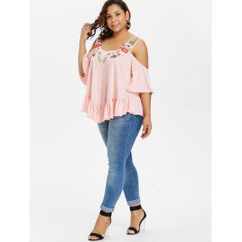 Plus Size Embroidery Bell Sleeve Ruffle T-shirt - LIGHT PINK 3X