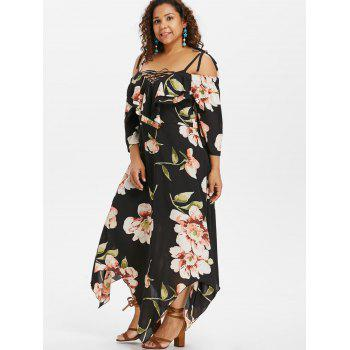 Plus Size Lace Up Maxi Flowing Dress - BLACK 5X