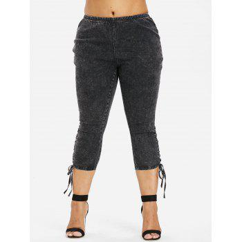 Plus Size Side Shirred Crop Jeans - CARBON GRAY 1X