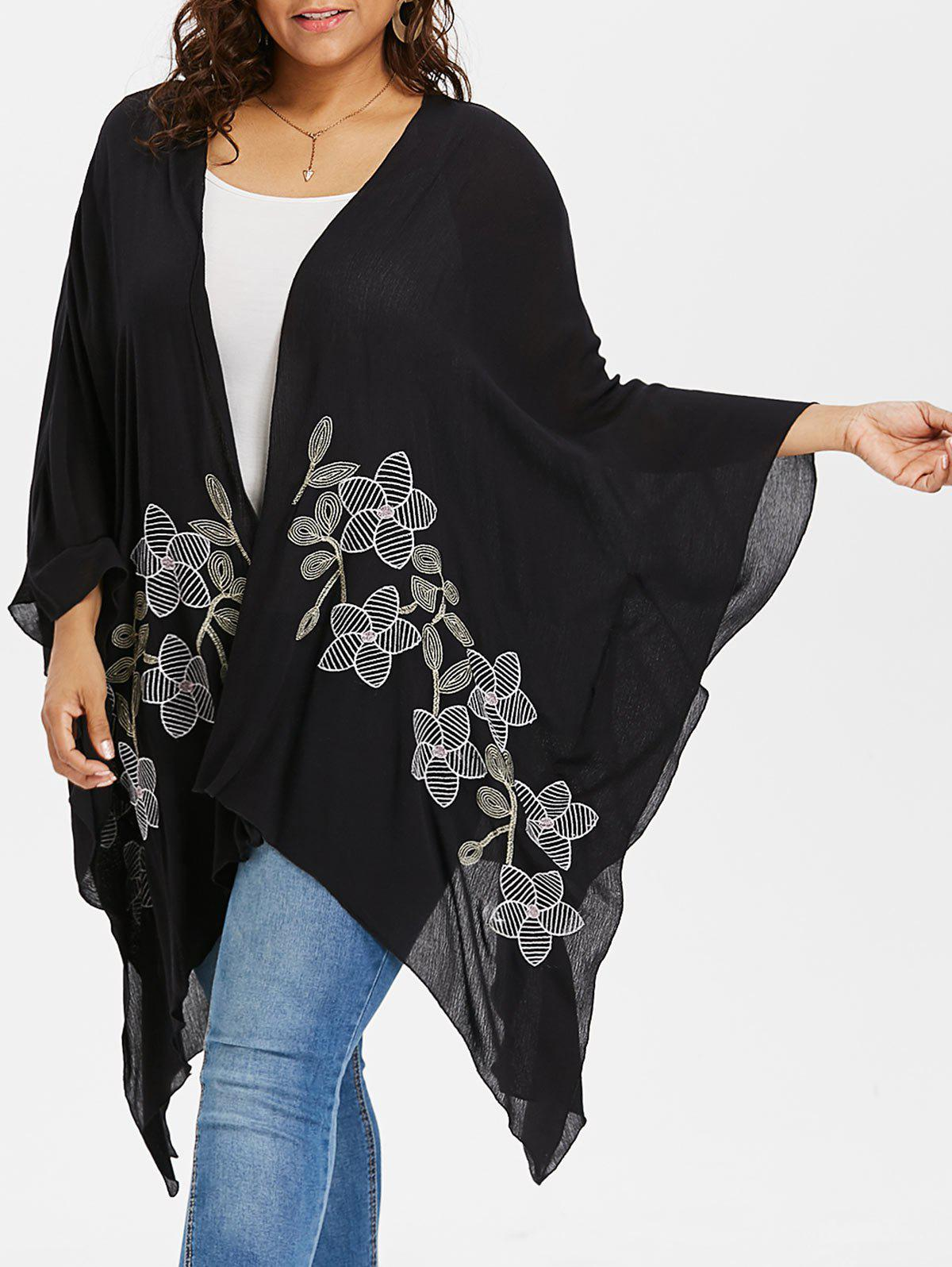 Plus Size Open Front Cardigan Coat - BLACK L