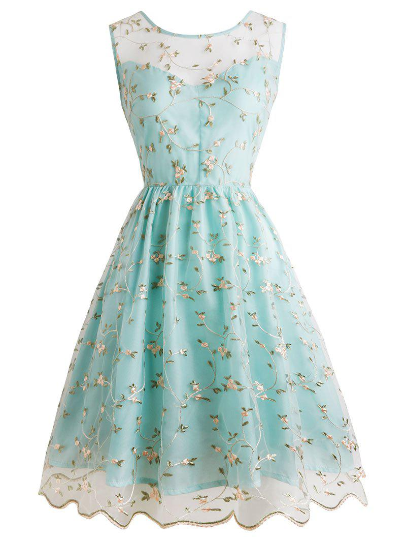 Tiny Flower Mesh Overlay Cocktail Dress - LIGHT BLUE M
