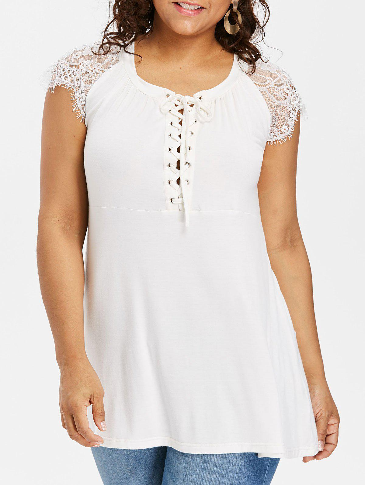Round Neck Plus Size Lace Up T-shirt - WHITE 3X