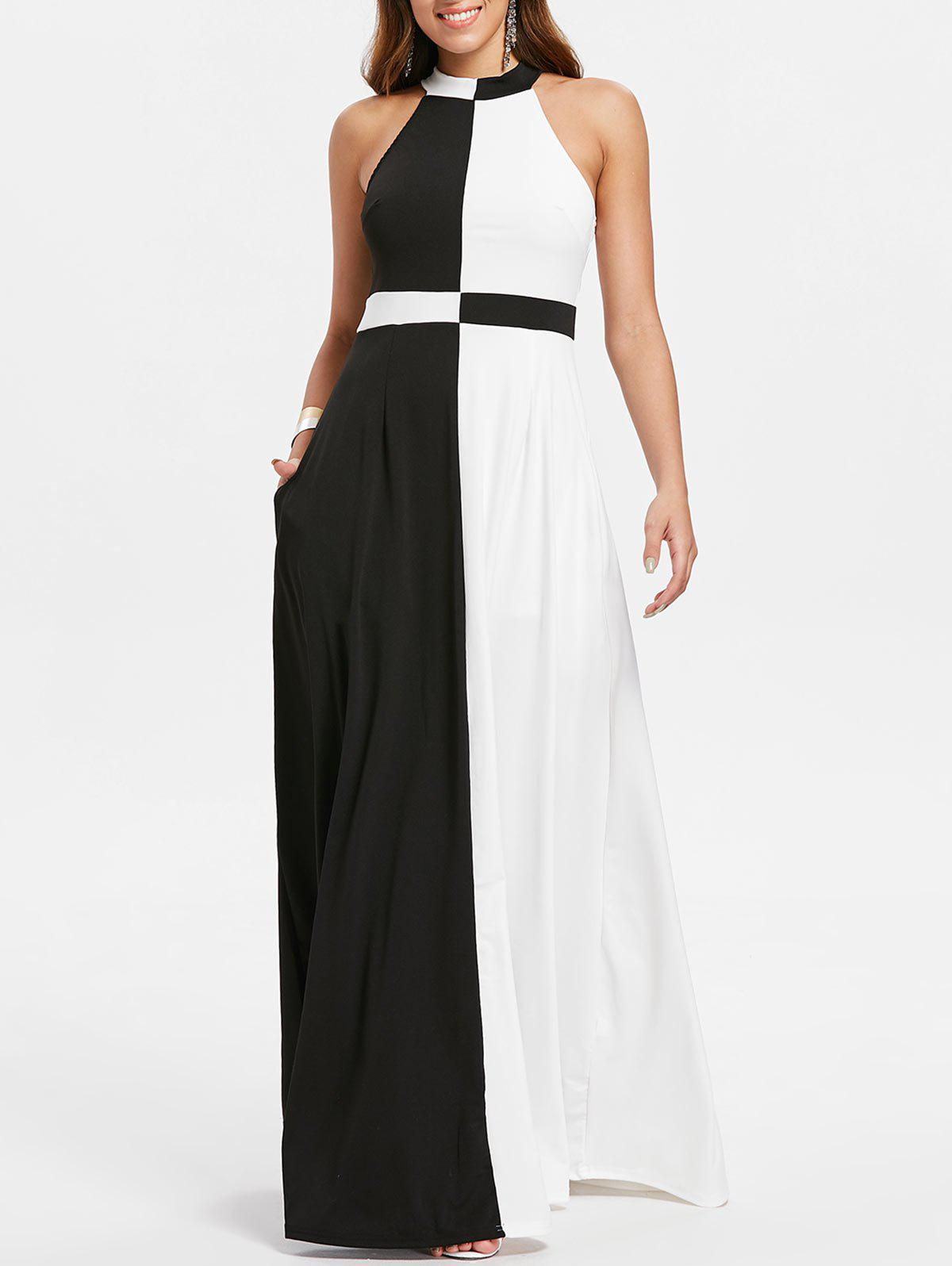 Color Block Maxi Dress - BLACK 2XL