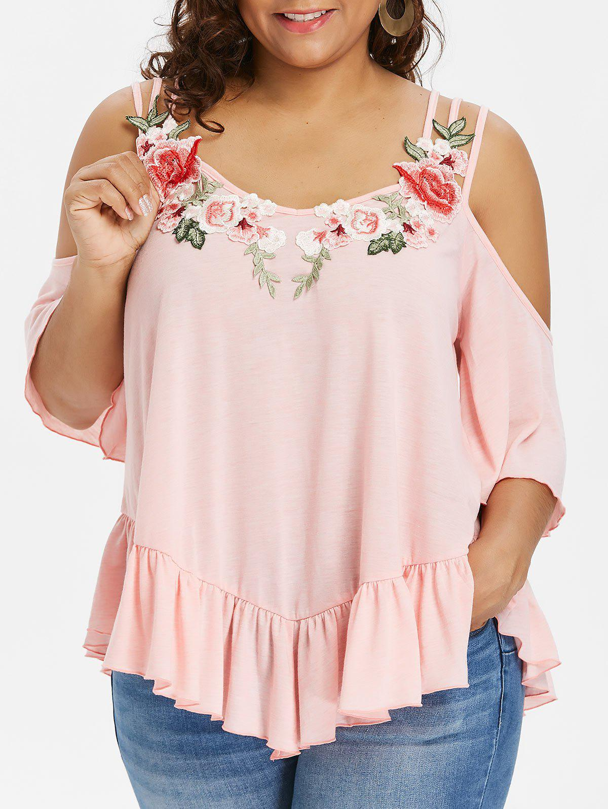 Plus Size Embroidery Bell Sleeve Ruffle T-shirt - LIGHT PINK 1X