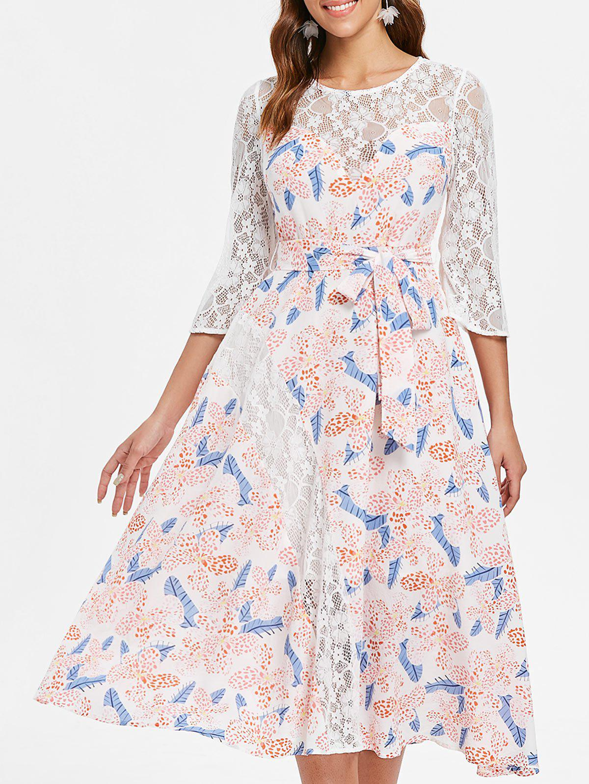 Lace Panel Floral Midi Dress - WHITE S