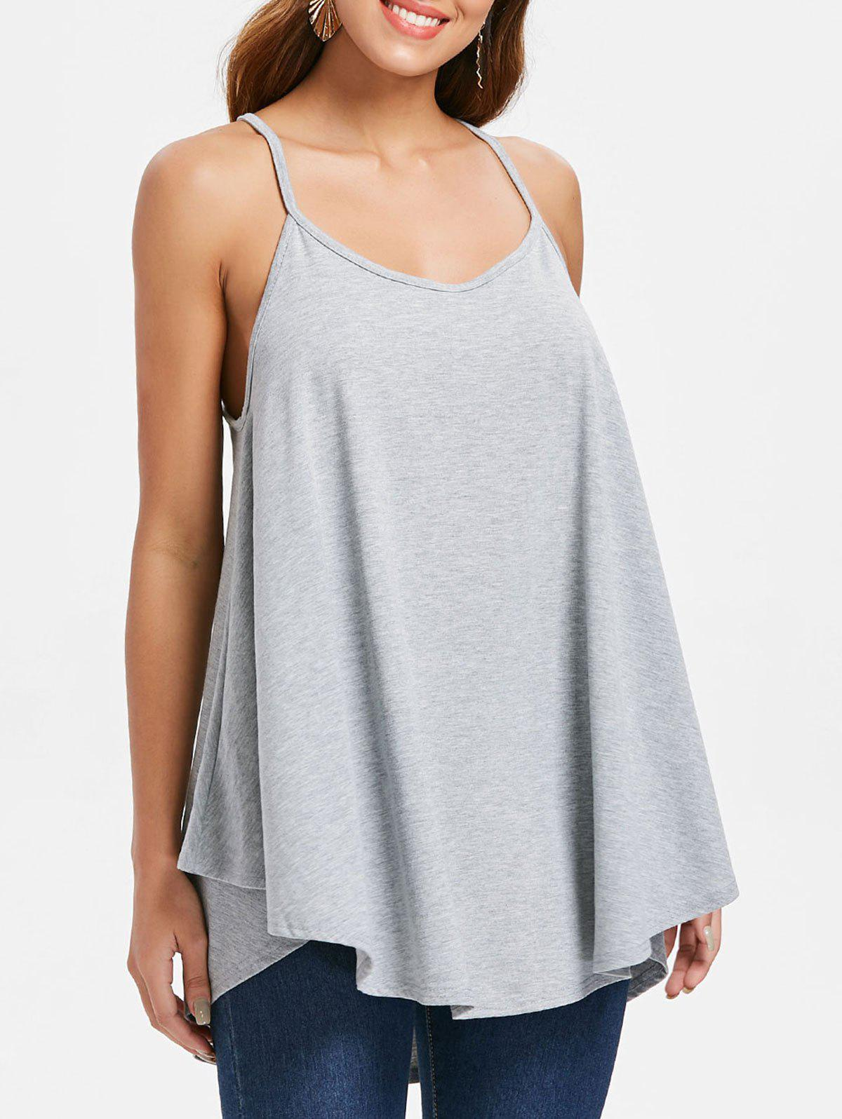 Cami Straps Swing Tank Top - LIGHT GRAY S