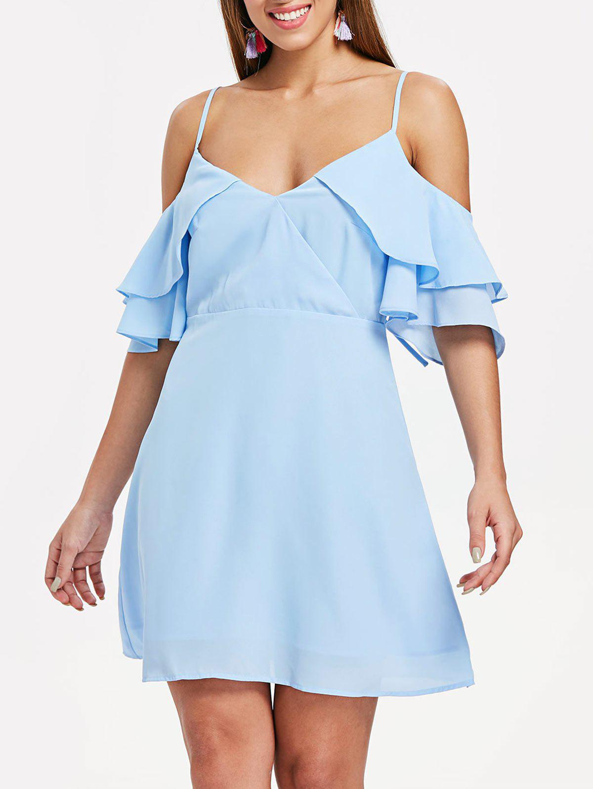 Layered Sleeve Back Cut Out A Line Dress - LIGHT SKY BLUE M