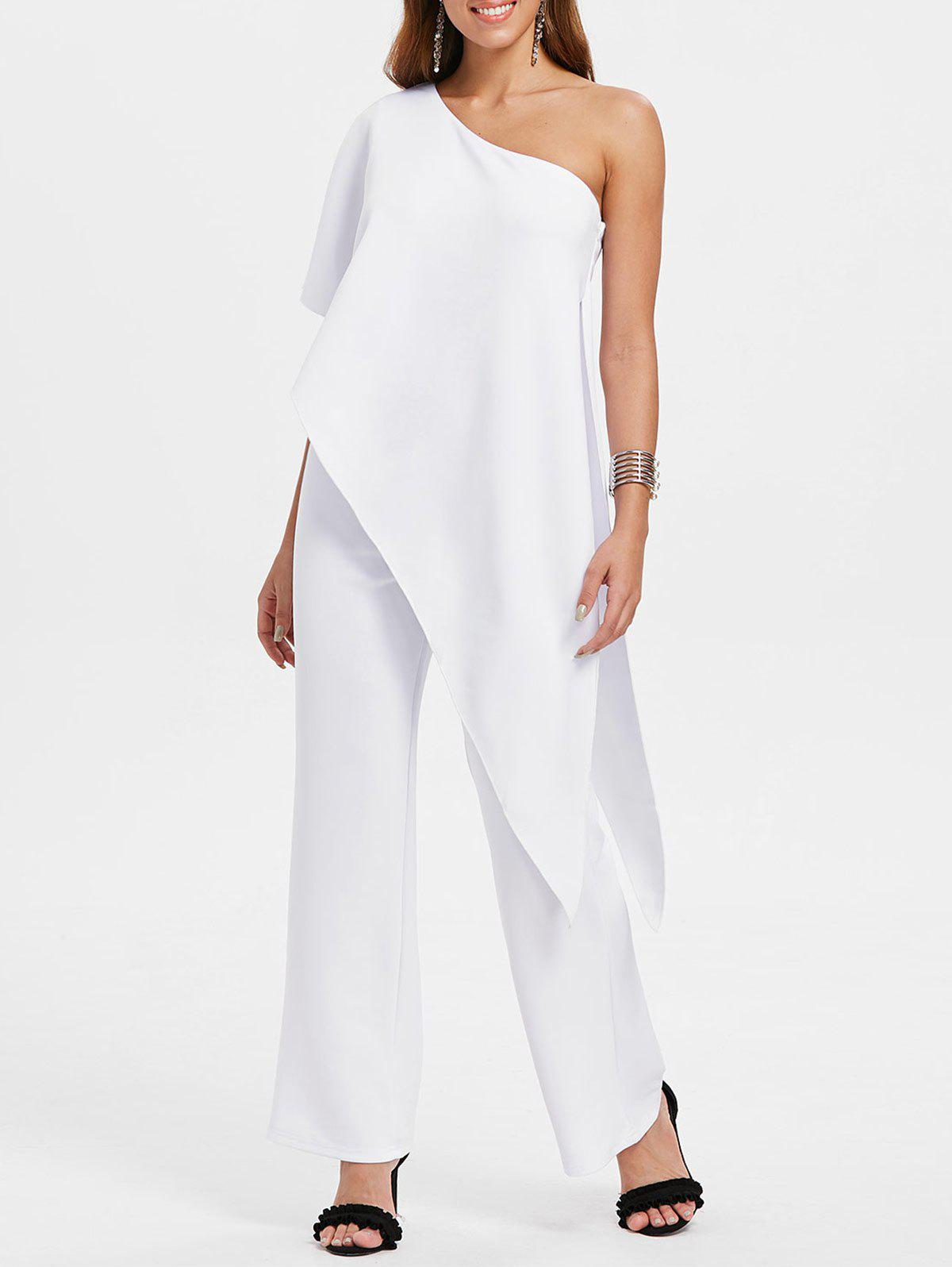 One Shoulder Asymmetrical Jumpsuit - WHITE L