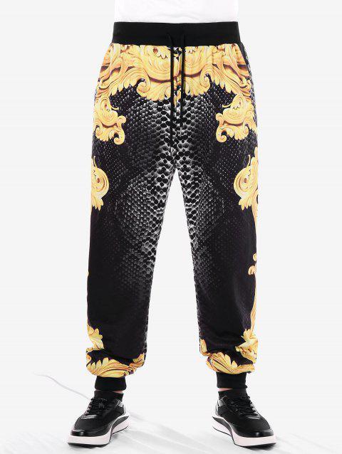 Drawstring Filigree Print Jogger Pants - BEE YELLOW 2XL