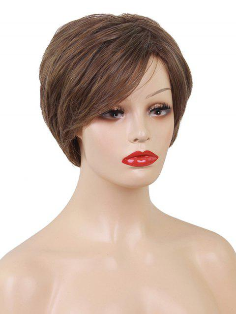 Side Bang Short Layered Straight Heat Resistant Synthetic Wig - SEPIA