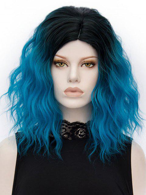Medium Side Parting Gradient Natural Wavy Party Synthetic Wig - BLUE