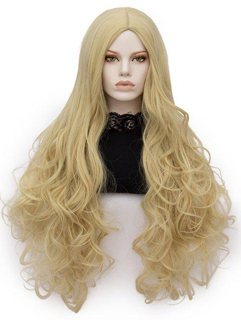 Long Center Parting Wavy Heat Resistant Synthetic Cosplay Wig - GOLD