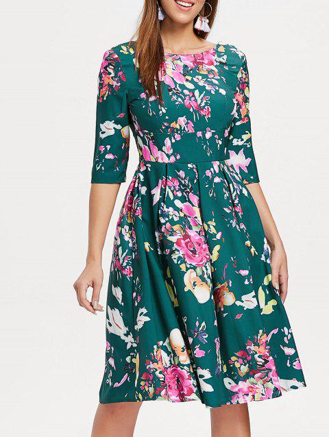 Empire Waist Flower Dress - DEEP GREEN XL