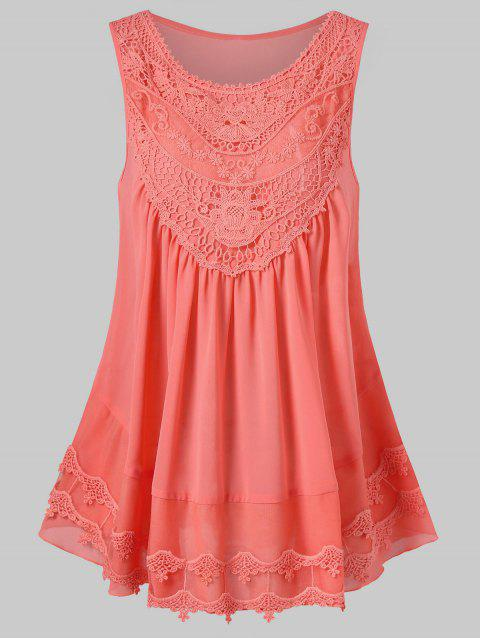 Lace Embroidered Mesh Insert Swing Tank Top - ORANGE PINK 2XL