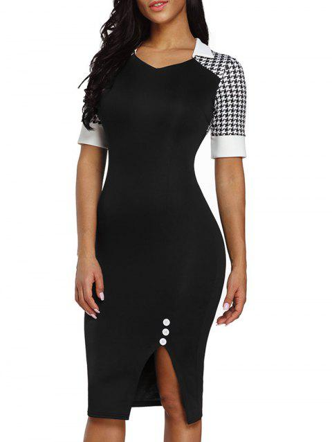 V Neck Houndstooth Sleeve Bodycon Dress - BLACK S