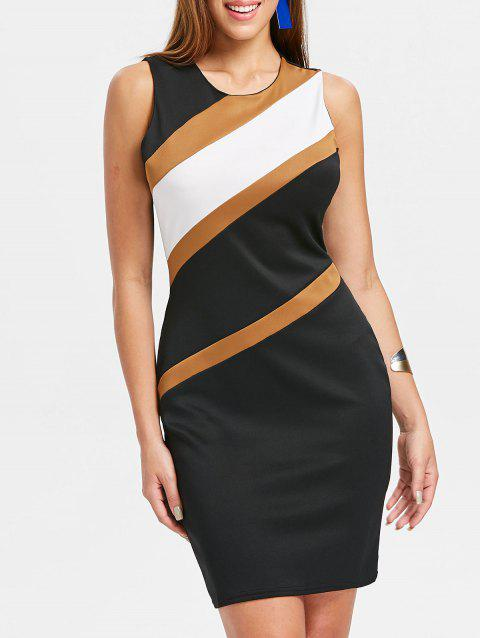 Color Block Bodycon Dress - WHITE L