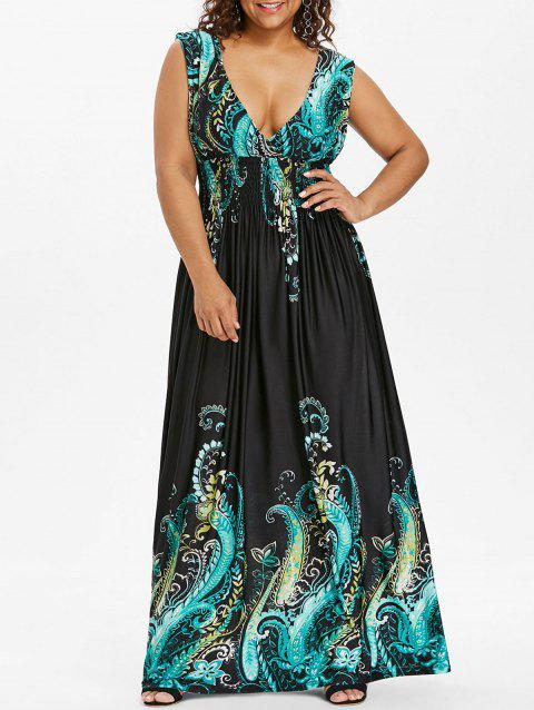Paisley Plus Size Plunge V Neck Maxi Bohemian Dress - DARK TURQUOISE 6XL