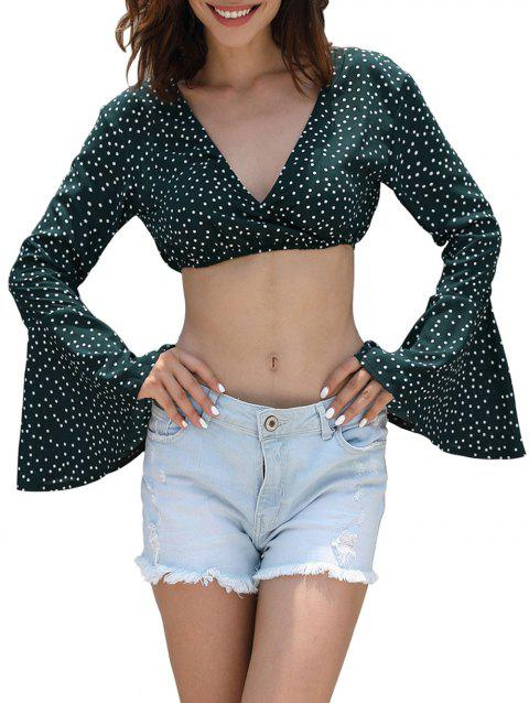 Plunging Neck Polka Dot Crop Top - GREEN L