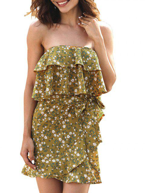 Strapless Layered Ruffle Dress with Belt - GOLDEN BROWN XL