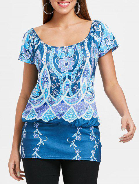 Ethnic Print Short Sleeve T-shirt - BLUE M