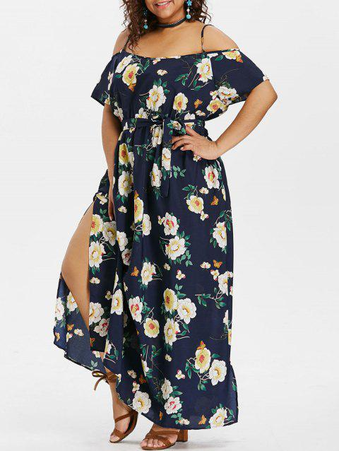 Plus Size Cold Shoulder Flower Maxi Dress - ROYAL BLUE 2X