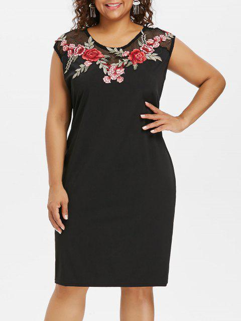 Plus Size Embroidery Sheer Sleeveless Dress - BLACK 2X