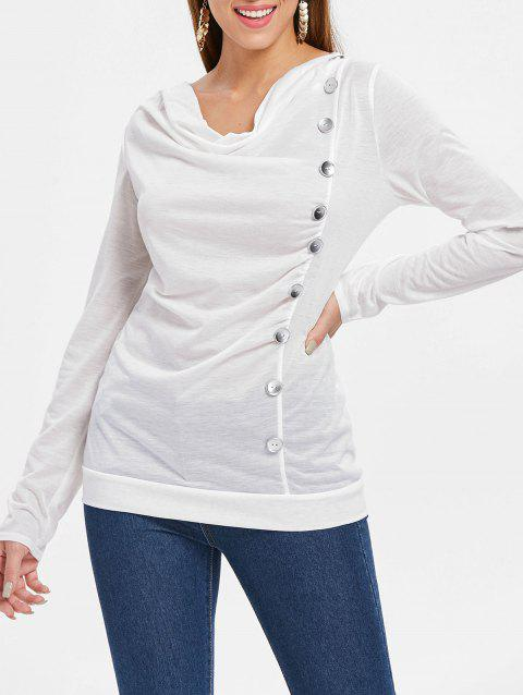 Long Sleeve Button Embellished T-shirt - WHITE S