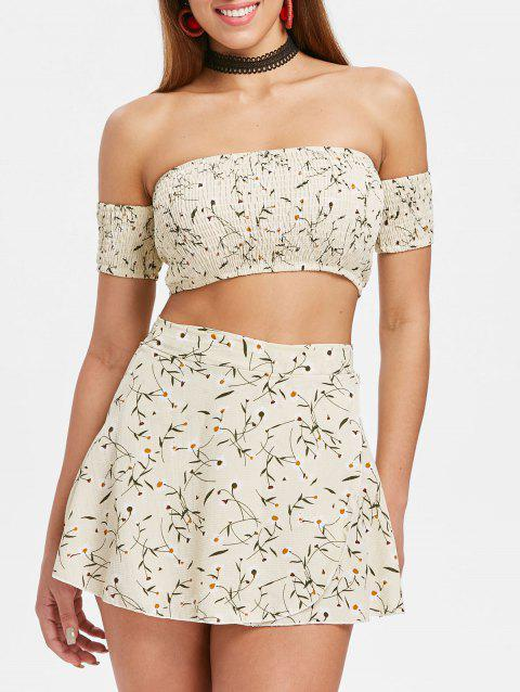 Floral Print Crop Top and Wrap Skirt Set - BEIGE M