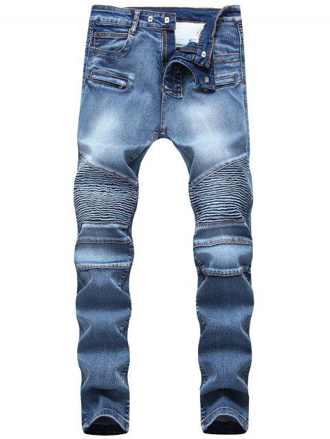 Patchwork Pleated Tapered Biker Jeans - WINDOWS BLUE 34